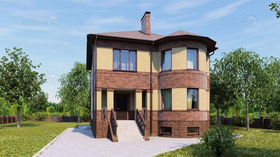 Проект двухэтажного дома с подвалом и круглым эркером 263-C